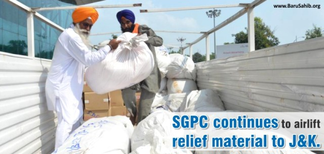 SGPC continues to airlift relief material to J&K