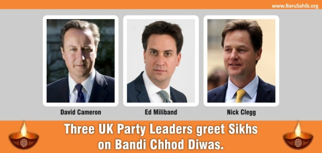 3 UK Party Leaders greet Sikhs on Bandi Chhorrh Diwas