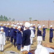 Rising and Shining With Morning Assembly, Students of Akal Academy, Ghugg !