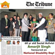 60 yr old Social Activist Amarjit Singh honoured on National Disability Day!