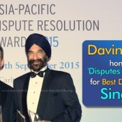 Davinder Singh honoured with 'Disputes Star of the Year' for Best Dispute Lawyer in Singapore