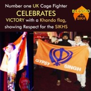 Number one UK Cage Fighter celebrates VICTORY with a Khanda flag, showing Respect for the SIKHS