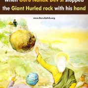 When Guru Nanak Dev Ji stopped the Giant Hurled rock with his hand