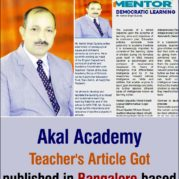 akal-academy-teachers-article-got-published-in-bangalore-based-publication-mentor