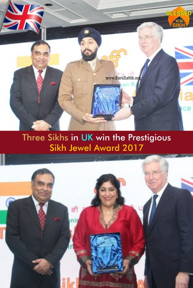 Three Sikhs in UK win the Prestigious Sikh Jewel Award 2017